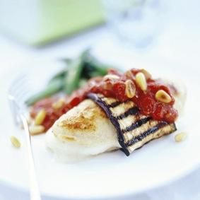 Auberginelindade Quorn Filéer med mozzarella och tomatsås recept