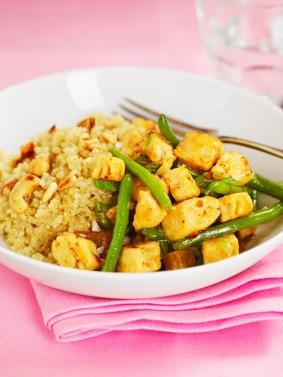 Quorn Bitar med mango chutney och quinoa recept