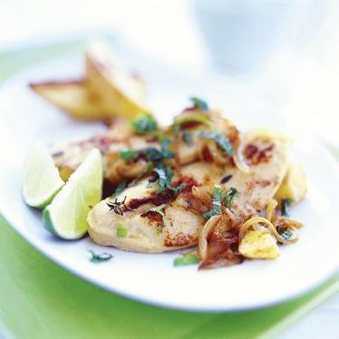 Karibiska Quorn Filéer med ugnsbakad potatis recept