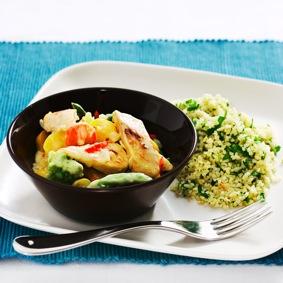 Quorn Filé med kokosmjölk, grönsaker och örtbulgur recept