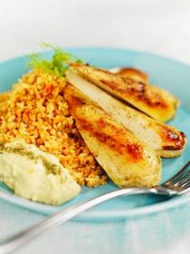 Quorn Zahtar med bulgur och hummus recept